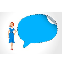 Office girl with speech bubble vector