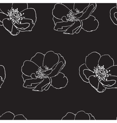 Seamless pattern with wild roses vector