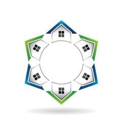 Houses neighborhood circle vector