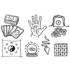 Various types of fortune telling vector