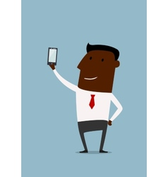 Cartoon african american businessman taking selfie vector
