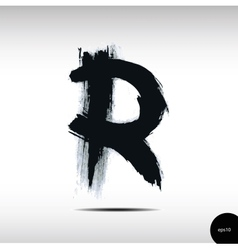 Calligraphic watercolor letter r vector