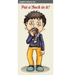 A man eating his socks vector