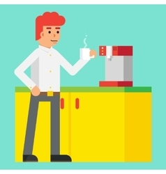 Drink morning invigorating coffee machine male vector