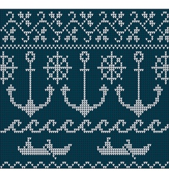 Knitting pattern sweater sea ornament vector