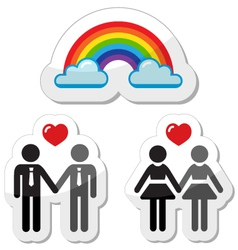 Raibnow gay couples icons vector