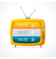 Orange tv blank and option banner 123 vector