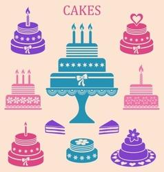 Birthday and wedding cakes vector