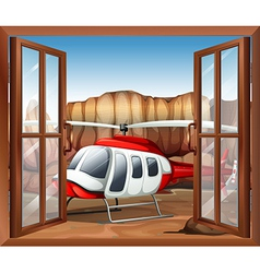 A window with a chopper outside vector