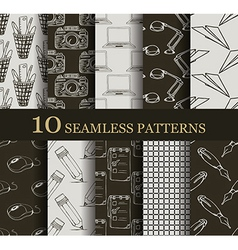 Set of 10 seamless business patterns vector