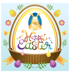 Easter heading label with basket eggs and icons vector