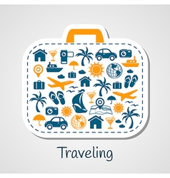Travel holiday suitcase paper cut vector