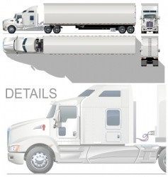 hi detailed semi truck vector