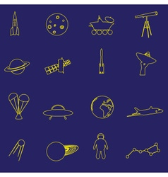 Simple space yellow outline icons set eps10 vector