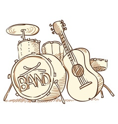 Drums and guitar vector
