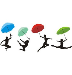 Teens jumping with umbrella vector