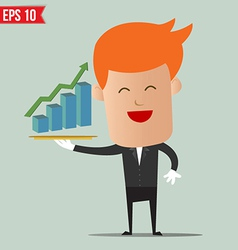 Waiter show graph on dish - - eps10 vector
