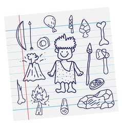 Outline image stone age cartoon vector