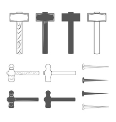 Hammers and hobnails vector