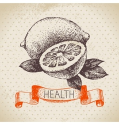 Sketch healthy background with lemon vector