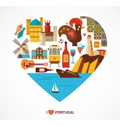 Portugal love - heart with icons vector