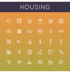 Housing line icons vector