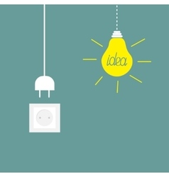 Hanging yellow light bulb socket cord plug idea vector