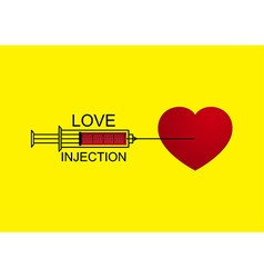 Love heart injection with syringe vector