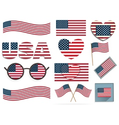 Set of american flags and hearts vector