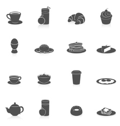 Breakfast icons black vector
