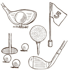 Golf collection - doodle style vector