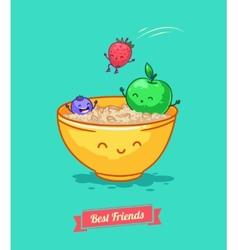 Funny cartoon fruit diet porridge and vector