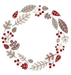 Xmas retro holiday wreath isolated on white vector