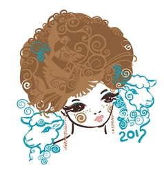 Girl with sheep vector