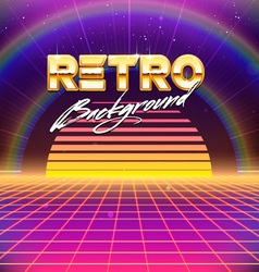 80s retro futurism sci-fi background vector