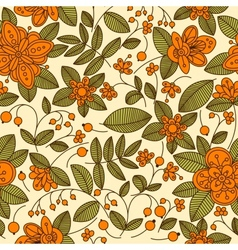 Floral seamless pattern with orange berries vector