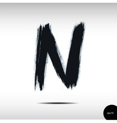 Calligraphic watercolor letter n vector