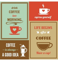 Coffee mini poster set vector