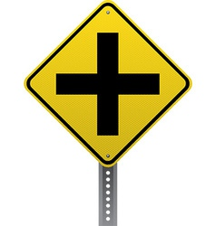 Crossroads ahead sign vector