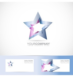 Blue star logo metal vector