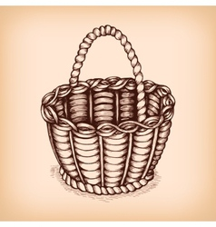 Wicker basket emblem vector