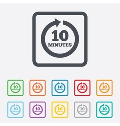 Every 10 minutes sign icon full rotation arrow vector