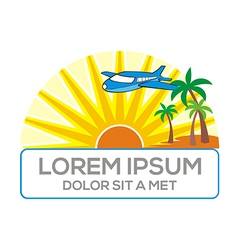 Logo eco sun beach holiday plane vector
