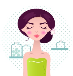 Beautiful spa women in green towel and bath access vector