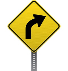 Curve ahead sign vector