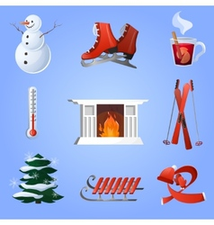 Winter icons set vector
