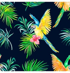 Macaw seamless pattern black background vector