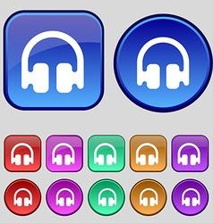 Headphones earphones icon sign a set of twelve vector