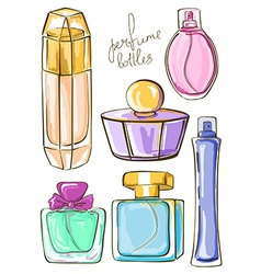 Set of isolated perfume bottles vector