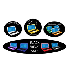 Mobile computer on black friday sale background vector